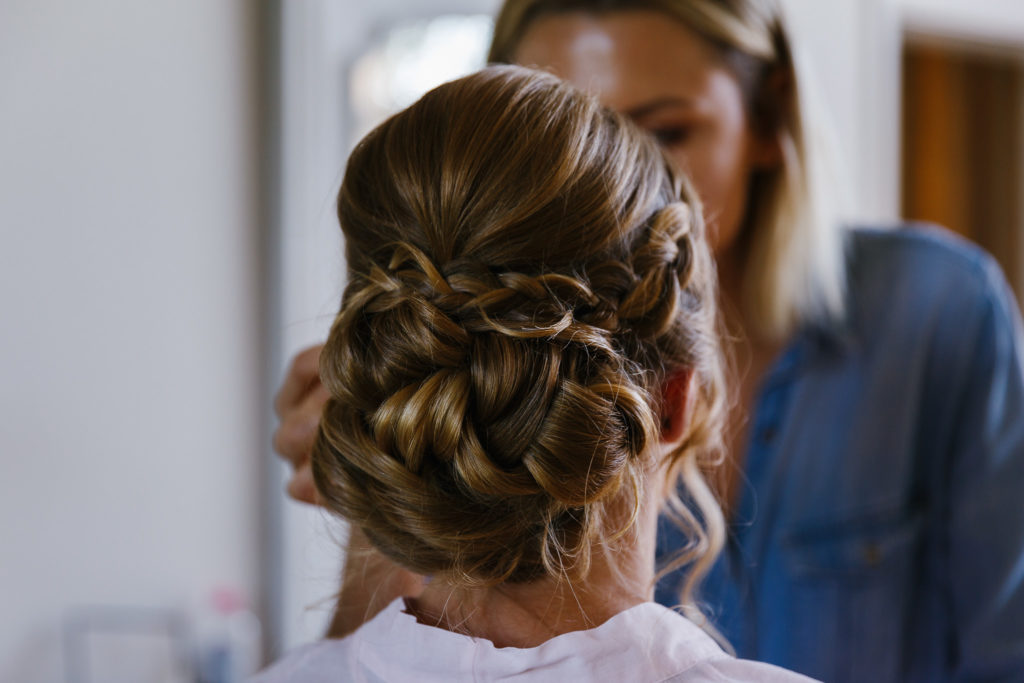 back of brides hairup