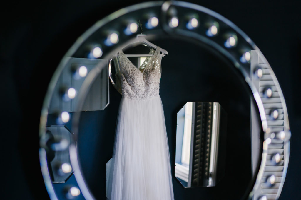 Wedding Dress reflected in a mirror hanging