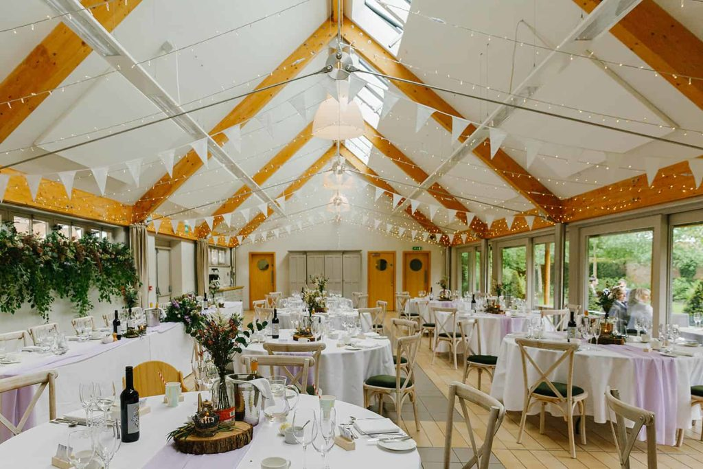 Interior of The Green Wing at Doddington Hall dressed for a wedding